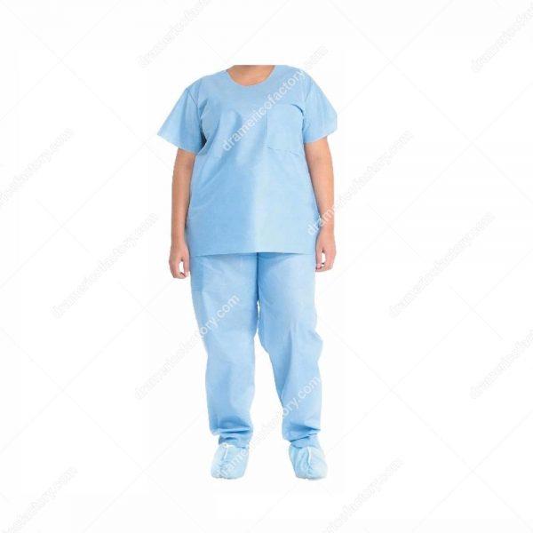 AME Disposable Hospital Uniform Suits Fluid Resistance a