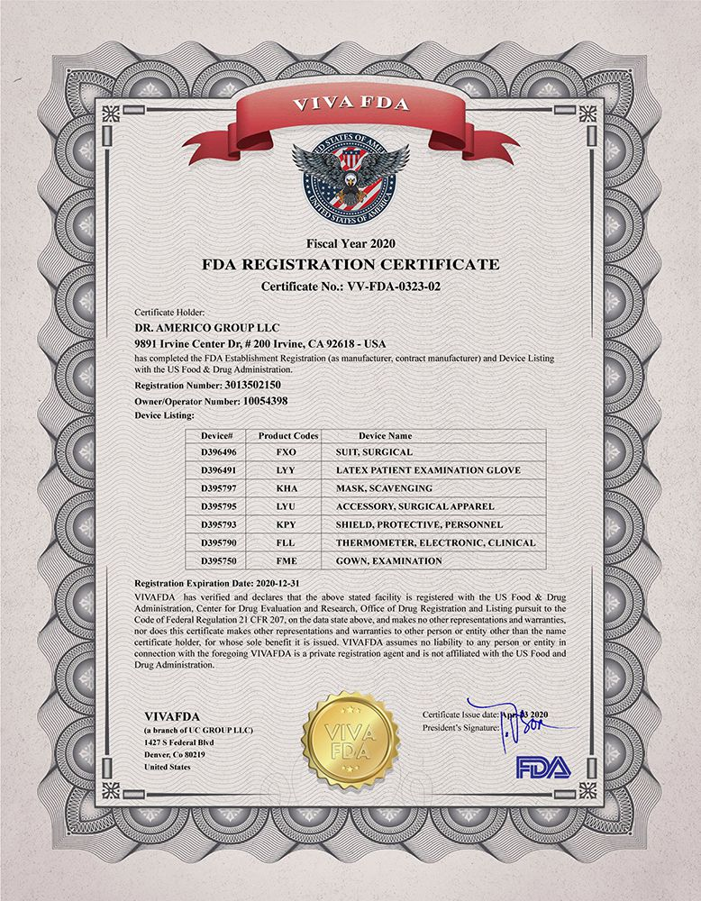 FDA REGISTRATION CERTIFICATE DRAMERICO 2020
