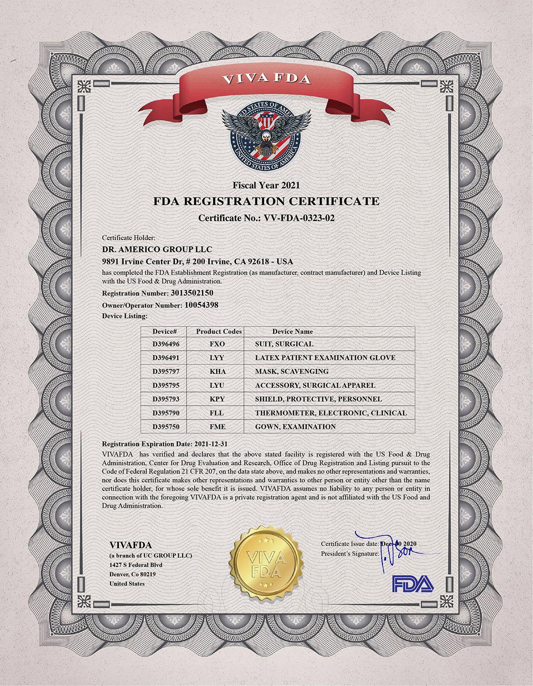 FDA REGISTRATION CERTIFICATE DRAMERICO 2020 01